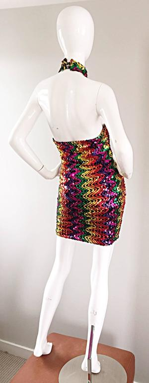 Sexy 1990s Rainbow Sequined French Bodycon Vintage Knit 90s Halter Mini Dress 8