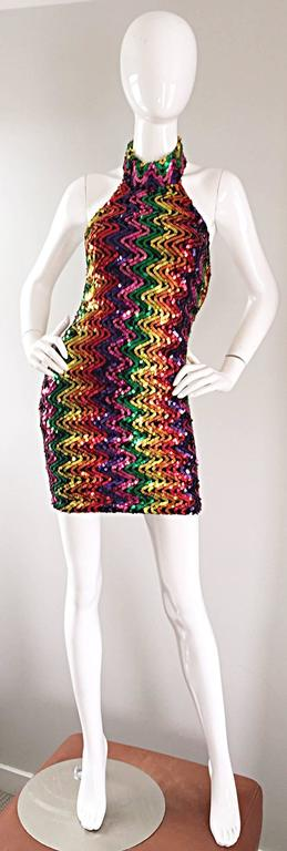 Sexy 1990s Rainbow Sequined French Bodycon Vintage Knit 90s Halter Mini Dress 9