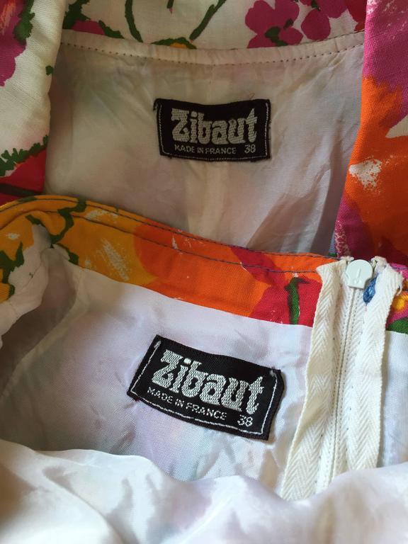 1960s Zibaut French Mod Colorful Flower Cotton Blouse & Skirt Vintage Dress Set For Sale 5