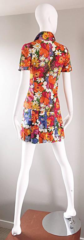 Orange 1960s Zibaut French Mod Colorful Flower Cotton Blouse & Skirt Vintage Dress Set For Sale