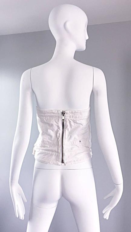 Dsquared2 Sexy White Denim Strapless Bustier Corset Style Strapless Jean Top 3