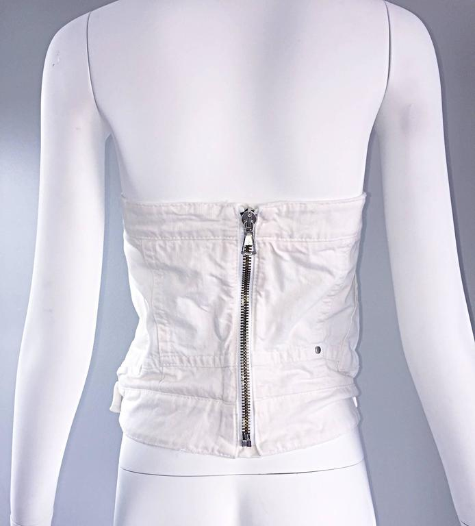 Dsquared2 Sexy White Denim Strapless Bustier Corset Style Strapless Jean Top 7