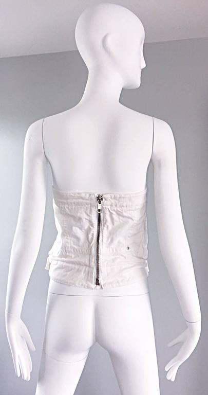Dsquared2 Sexy White Denim Strapless Bustier Corset Style Strapless Jean Top 8