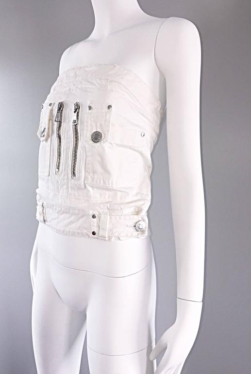 Dsquared2 Sexy White Denim Strapless Bustier Corset Style Strapless Jean Top 6