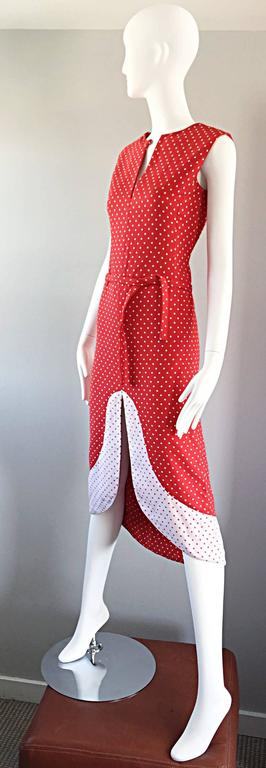 1960s Pierre Cardin Couture Vintage Space Age Red White Polka Dot Cut Out Dress In Excellent Condition For Sale In Chicago, IL