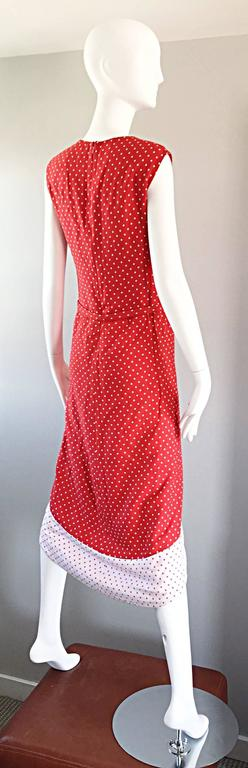 1960s Pierre Cardin Couture Vintage Space Age Red White Polka Dot Cut Out Dress For Sale 4