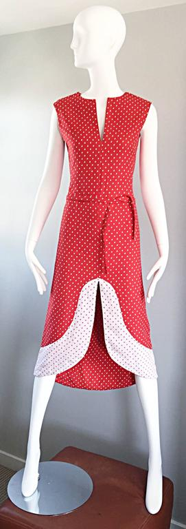 1960s Pierre Cardin Couture Vintage Space Age Red White Polka Dot Cut Out Dress For Sale 5