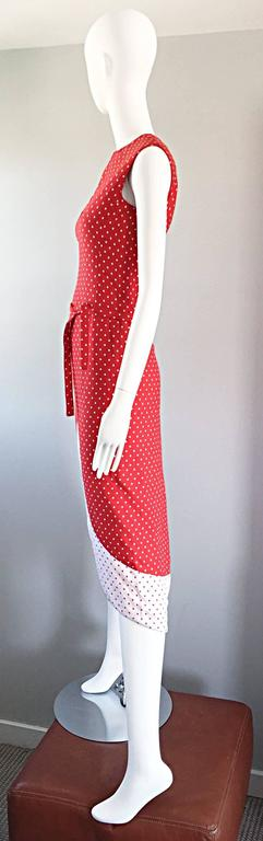 1960s Pierre Cardin Couture Vintage Space Age Red White Polka Dot Cut Out Dress For Sale 1