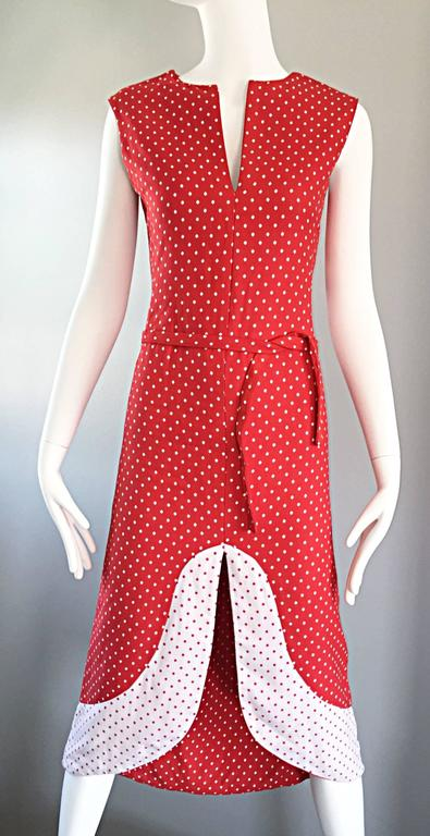 1960s Pierre Cardin Couture Vintage Space Age Red White Polka Dot Cut Out Dress For Sale 3