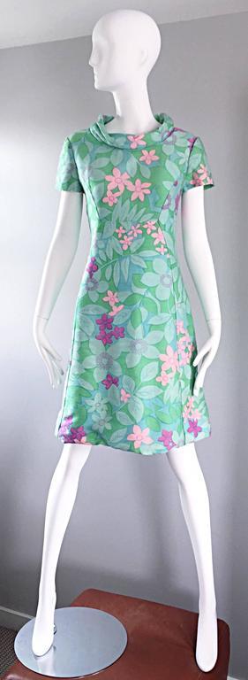 Chic Vintage Adele Simpson 1960s Pastel Flower Print Silk 60s A - Line Dress 9