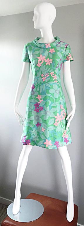 Chic Vintage Adele Simpson 1960s Pastel Flower Print Silk 60s A - Line Dress 2