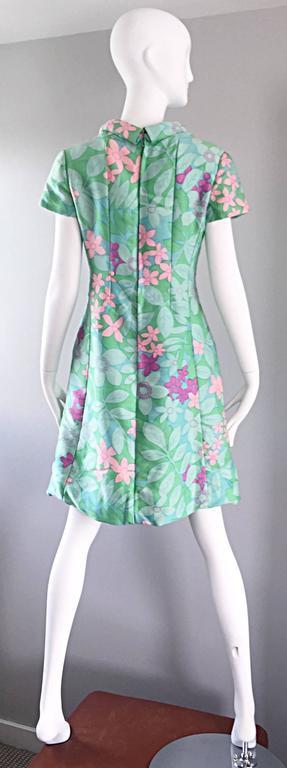 Chic Vintage Adele Simpson 1960s Pastel Flower Print Silk 60s A - Line Dress 8