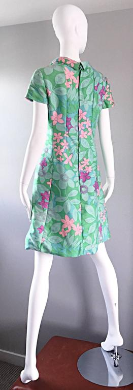 Chic Vintage Adele Simpson 1960s Pastel Flower Print Silk 60s A - Line Dress 3