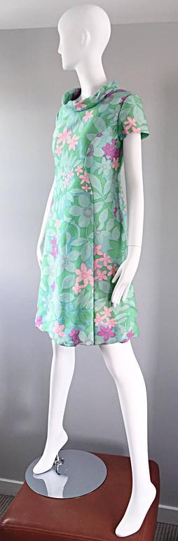 Chic Vintage Adele Simpson 1960s Pastel Flower Print Silk 60s A - Line Dress 4
