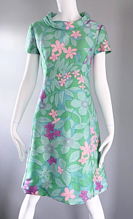 Chic Vintage Adele Simpson 1960s Pastel Flower Print Silk 60s A - Line Dress 5