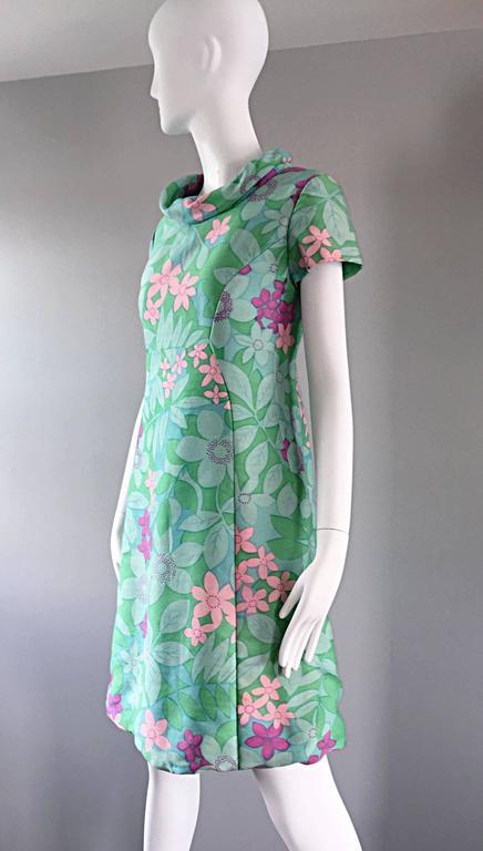 Chic Vintage Adele Simpson 1960s Pastel Flower Print Silk 60s A - Line Dress 7