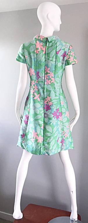 Chic Vintage Adele Simpson 1960s Pastel Flower Print Silk 60s A - Line Dress 6