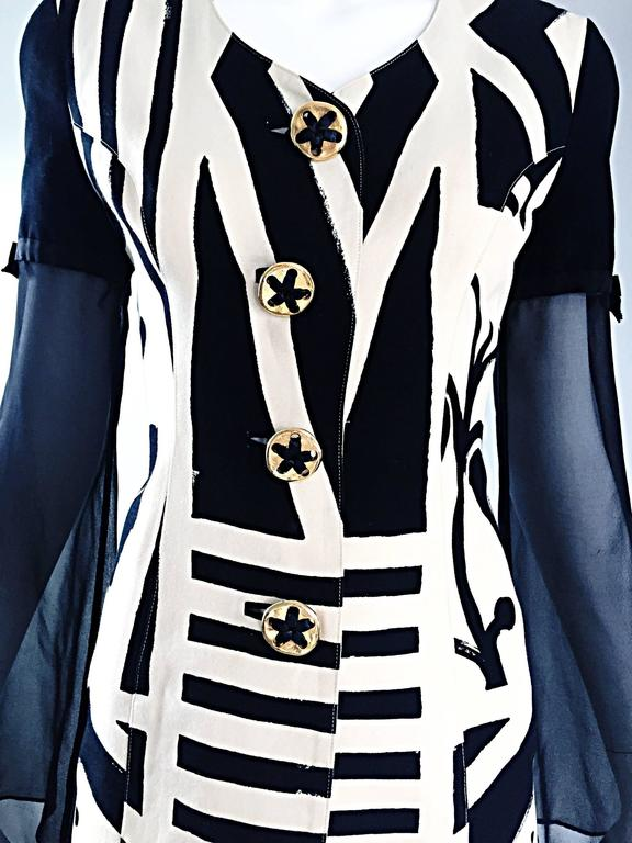 Vintage Gemma Kahng Black and White 1990s Avant Garde Jacket w/ Chiffon Sleeves For Sale 2
