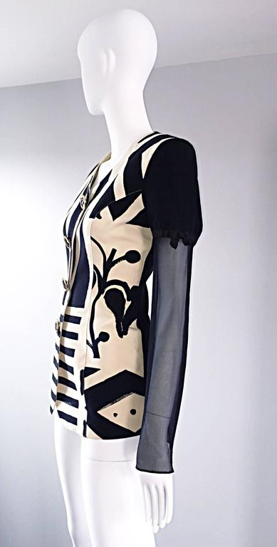 Vintage Gemma Kahng Black and White 1990s Avant Garde Jacket w/ Chiffon Sleeves For Sale 1