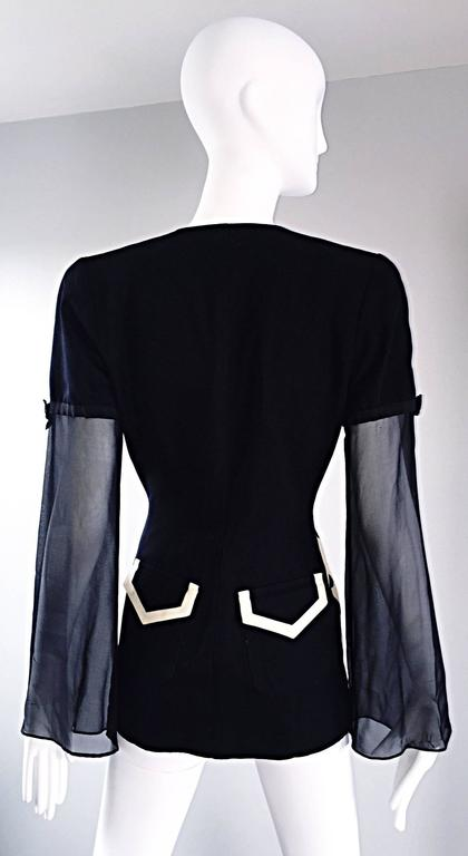Vintage Gemma Kahng Black and White 1990s Avant Garde Jacket w/ Chiffon Sleeves In Excellent Condition For Sale In Chicago, IL