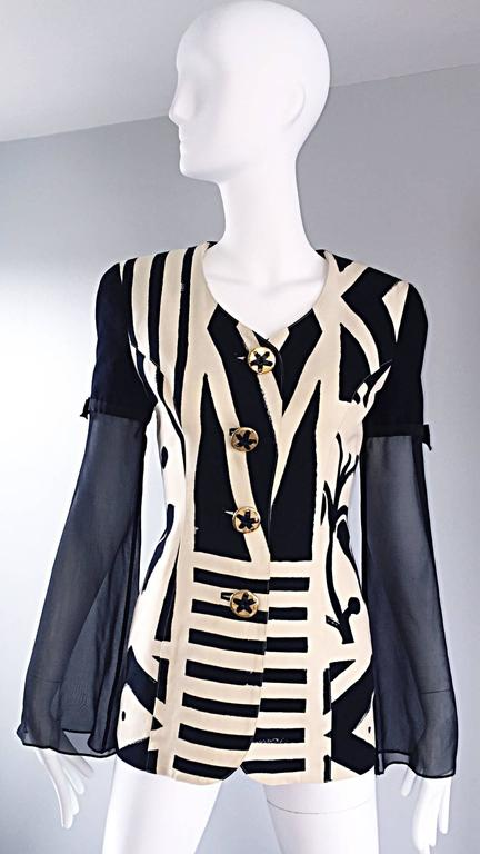 Women's Vintage Gemma Kahng Black and White 1990s Avant Garde Jacket w/ Chiffon Sleeves For Sale