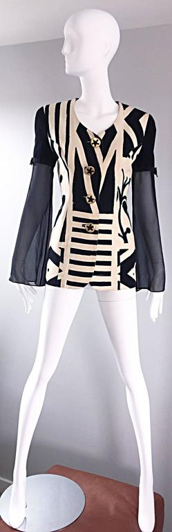 Vintage Gemma Kahng Black and White 1990s Avant Garde Jacket w/ Chiffon Sleeves For Sale 4