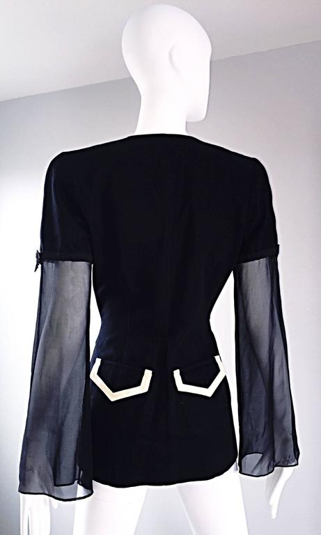 Vintage Gemma Kahng Black and White 1990s Avant Garde Jacket w/ Chiffon Sleeves For Sale 3