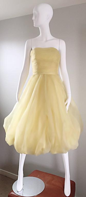 Vintage 1950s Lemon Pale Yellow Demi Couture Strapless Silk 50s Bubble Dress  2