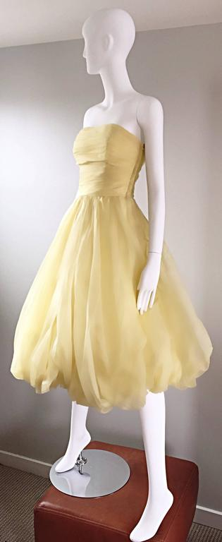 Vintage 1950s Lemon Pale Yellow Demi Couture Strapless Silk 50s Bubble Dress  3