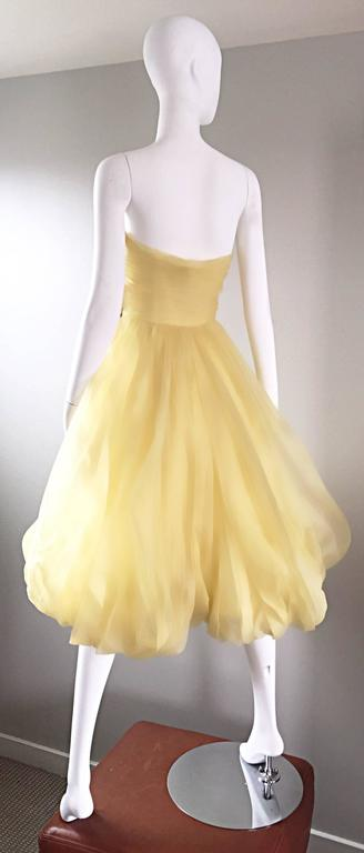 Vintage 1950s Lemon Pale Yellow Demi Couture Strapless Silk 50s Bubble Dress  4