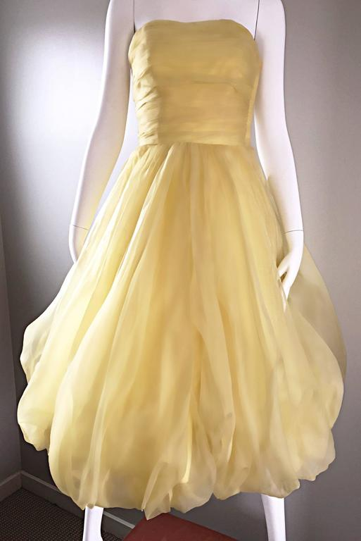 Vintage 1950s Lemon Pale Yellow Demi Couture Strapless Silk 50s Bubble Dress  5