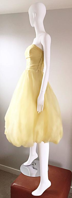 Vintage 1950s Lemon Pale Yellow Demi Couture Strapless Silk 50s Bubble Dress  6