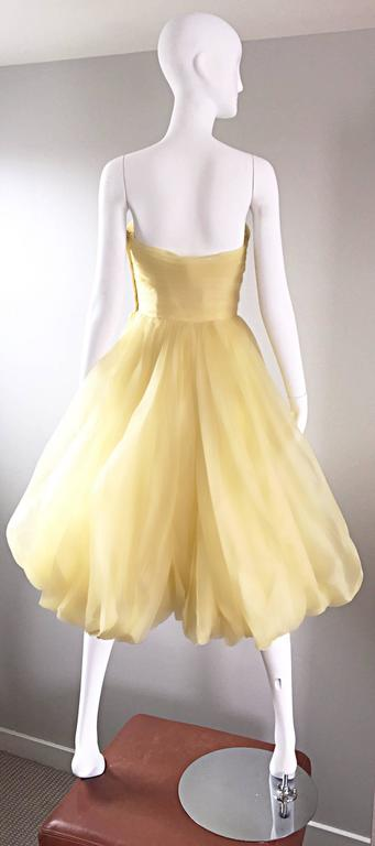 Vintage 1950s Lemon Pale Yellow Demi Couture Strapless Silk 50s Bubble Dress  7