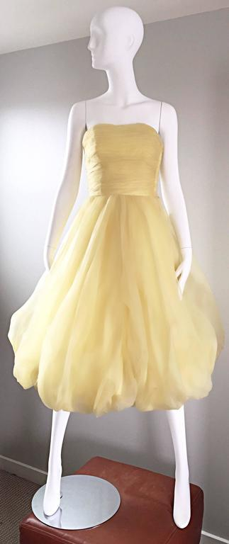 Vintage 1950s Lemon Pale Yellow Demi Couture Strapless Silk 50s Bubble Dress  8