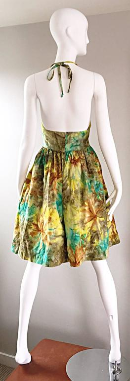 1950s Vintage Tie Dye Blue Yellow Brown Gray Fit n' Flare 50s Halter Dress 8