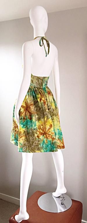 1950s Vintage Tie Dye Blue Yellow Brown Gray Fit n' Flare 50s Halter Dress 3