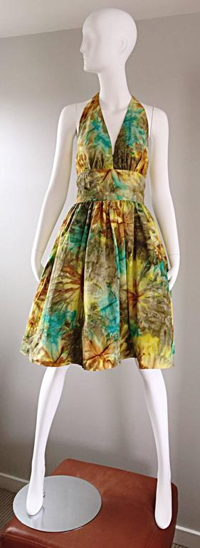 1950s Vintage Tie Dye Blue Yellow Brown Gray Fit n' Flare 50s Halter Dress 2