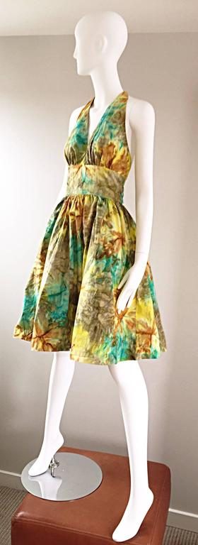 1950s Vintage Tie Dye Blue Yellow Brown Gray Fit n' Flare 50s Halter Dress 5