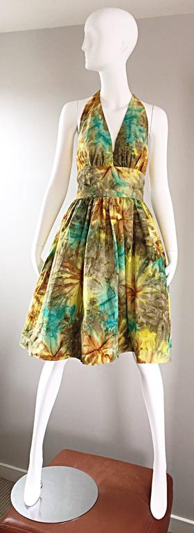 1950s Vintage Tie Dye Blue Yellow Brown Gray Fit n' Flare 50s Halter Dress 9