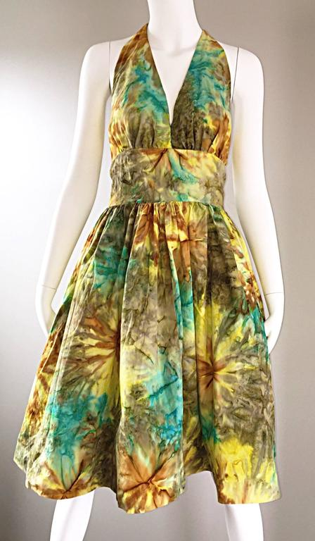 1950s Vintage Tie Dye Blue Yellow Brown Gray Fit n' Flare 50s Halter Dress 7