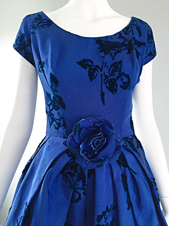 Sensational 1950s Demi Couture Royal Blue Silk Flower Abstract 50s Vintage Dress 3