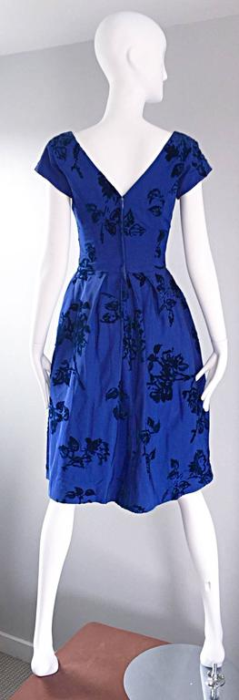 Sensational 1950s Demi Couture Royal Blue Silk Flower Abstract 50s Vintage Dress 5