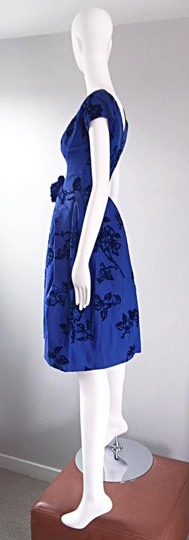 Sensational 1950s Demi Couture Royal Blue Silk Flower Abstract 50s Vintage Dress 6