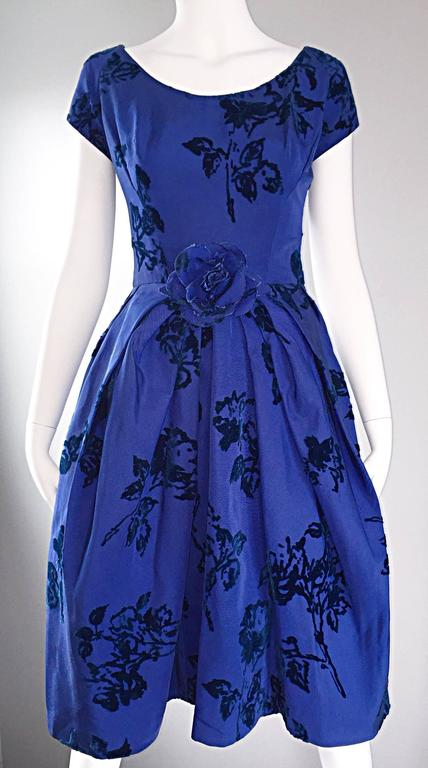 Sensational 1950s Demi Couture Royal Blue Silk Flower Abstract 50s Vintage Dress 7