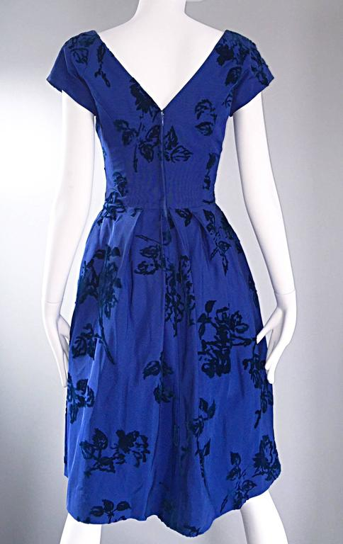 Sensational 1950s Demi Couture Royal Blue Silk Flower Abstract 50s Vintage Dress 8