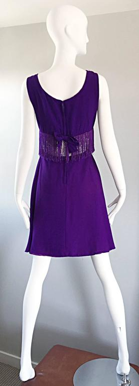 Women's Purple and Silver Metallic 1960s Vintage A - Line Incredible 60s Fringe Dress For Sale