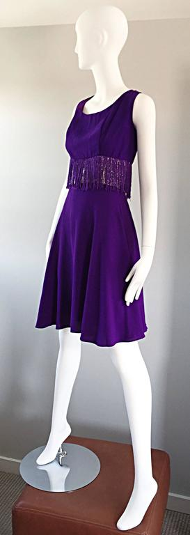 Purple and Silver Metallic 1960s Vintage A - Line Incredible 60s Fringe Dress In Excellent Condition For Sale In Chicago, IL