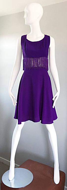 Purple and Silver Metallic 1960s Vintage A - Line Incredible 60s Fringe Dress For Sale 6