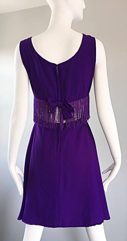 Purple and Silver Metallic 1960s Vintage A - Line Incredible 60s Fringe Dress For Sale 4