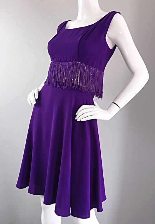 Purple and Silver Metallic 1960s Vintage A - Line Incredible 60s Fringe Dress For Sale 3